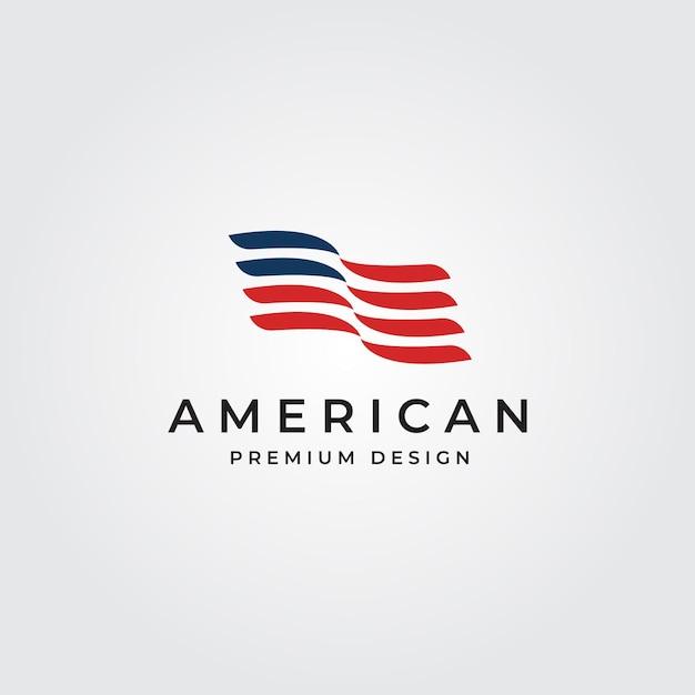 Minimale symbolillustration des amerikanischen flaggenlogos Premium Vektoren