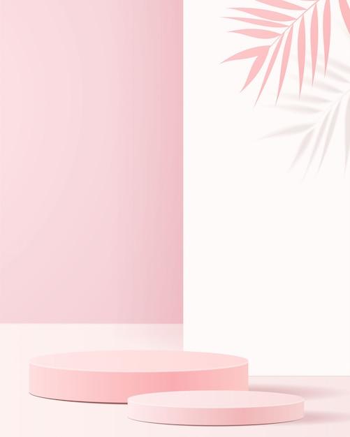 Minimale szene mit geometrischen formen. zylinderpodeste in zartem rosa hintergrund mit papier lassen auf säule. szene, um kosmetisches produkt, vitrine, ladenfront, vitrine zu zeigen. . Premium Vektoren