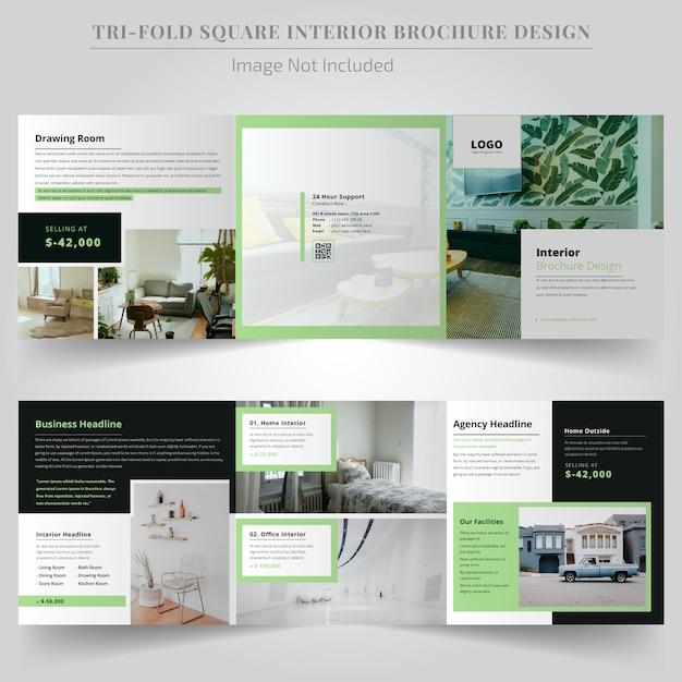 Minimaler real estate-platz tri fold broschüre design Premium Vektoren