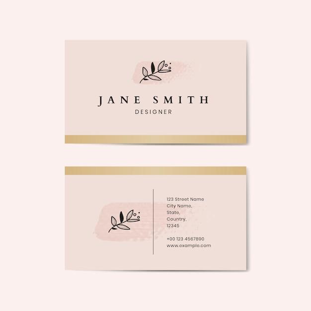 Minimaler rosa visitenkarteschablonenvektor Kostenlosen Vektoren