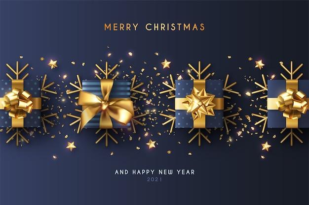 Minimaler weihnachtshintergrund mit realistischen blauen geschenken Kostenlosen Vektoren