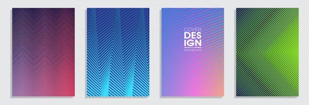 Minimales cover-design. bunter halbtonsteigungs-hintergrundsatz Premium Vektoren