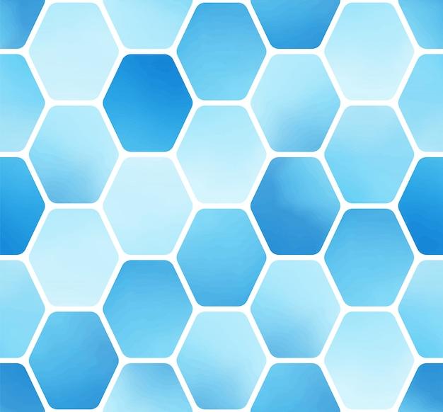 Minimales einfaches blaues aquarell-sechseckblock-nahtloses muster Premium Vektoren