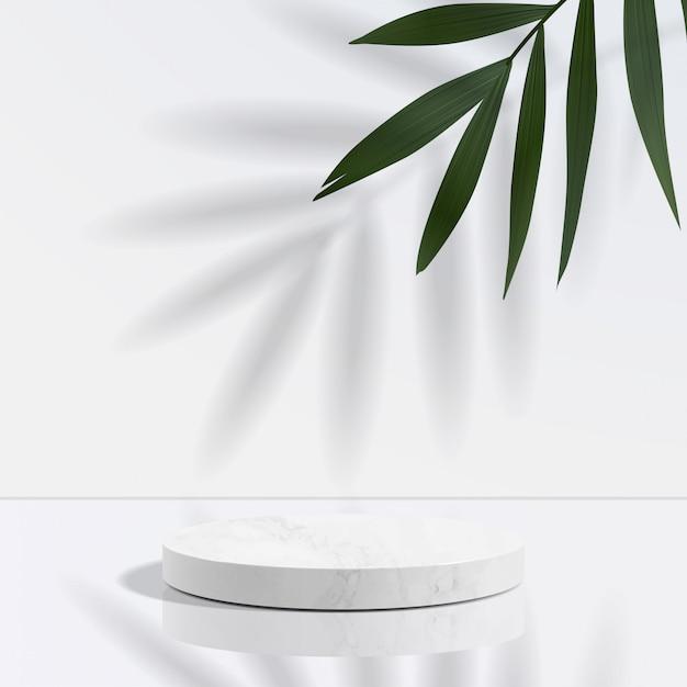 Minimales geometrisches podium aus weißem marmor in weiß Premium Vektoren