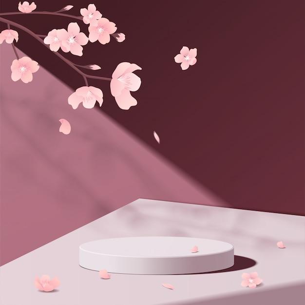 Minimales geometrisches podium-modell aus weißem marmor in pink Premium Vektoren
