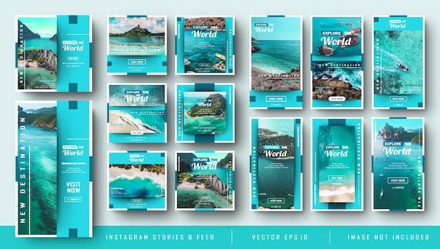 Minimalist blue instagram stories und feed post travel bundle Premium Vektoren