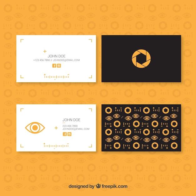 Minimalist fotostudio-karten mit gelben details Kostenlosen Vektoren