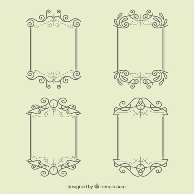 Minimalist Hochzeit frames collection | Download der kostenlosen Vektor