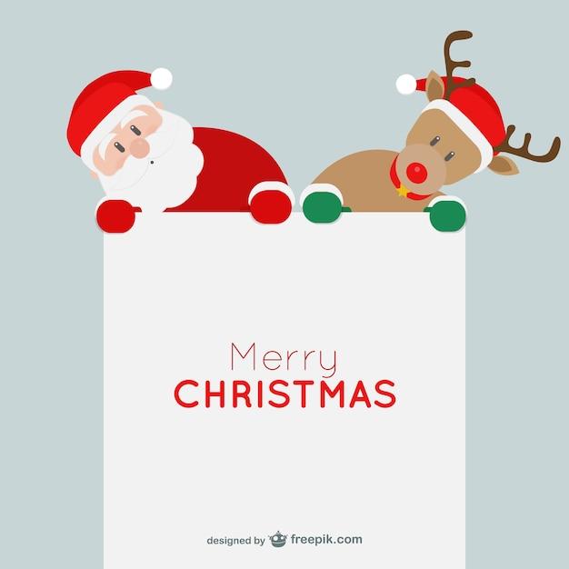 Minimalist weihnachtskarte mit weihnachtsmann und ren Kostenlosen Vektoren
