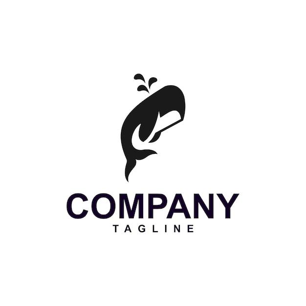 Minimalist whale logo premium Premium Vektoren