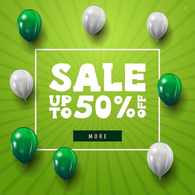 Minimalistic grüne netzfahne des modernen rabattes mit den weißen und grünen ballonen Premium Vektoren