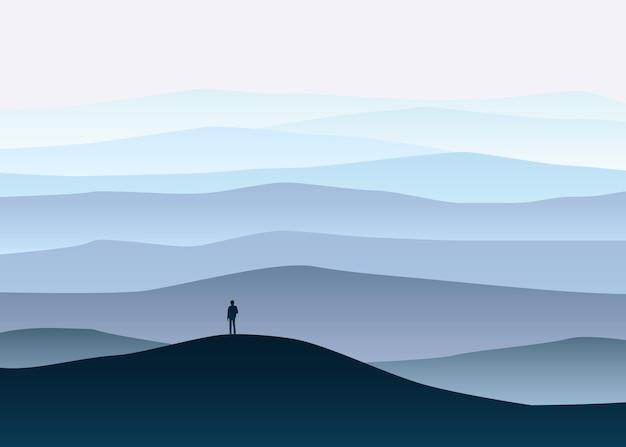 Minimalistische berglandschaft, einsamer entdecker, horizont, perspektive Premium Vektoren