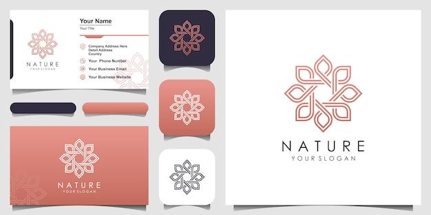 Minimalistische elegante blumenrose für schönheit, kosmetik, yoga und spa. logo und visitenkarte Premium Vektoren