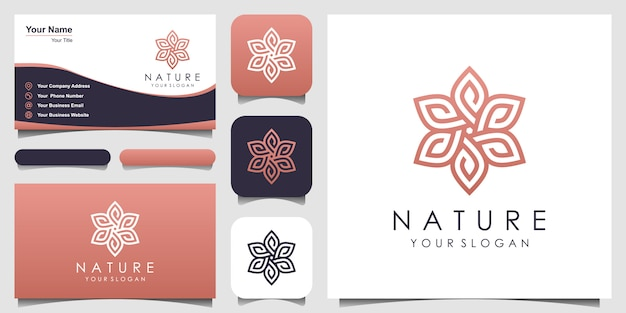 Minimalistische elegante blumenrose mit strichgrafiklogo und visitenkartenentwurf. logo für schönheit, kosmetik, yoga und spa. logo- und visitenkarten-design Premium Vektoren