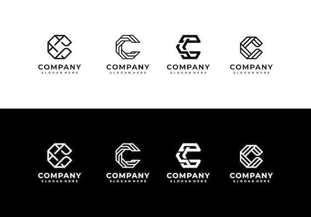 Minimalistische elegante kreative buchstaben-c-logo-sammlung Premium Vektoren