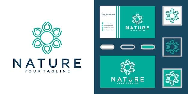 Minimalistische, elegante yoga- und spa-produkte im stil von blumenrosen. logo-design und visitenkarte Premium Vektoren
