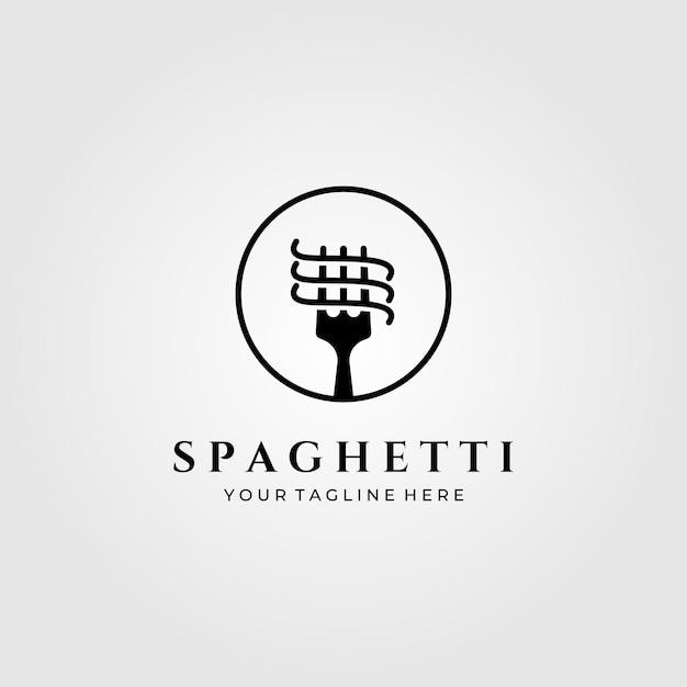 Minimalistische illustration des spaghetti-nudel-logos Premium Vektoren