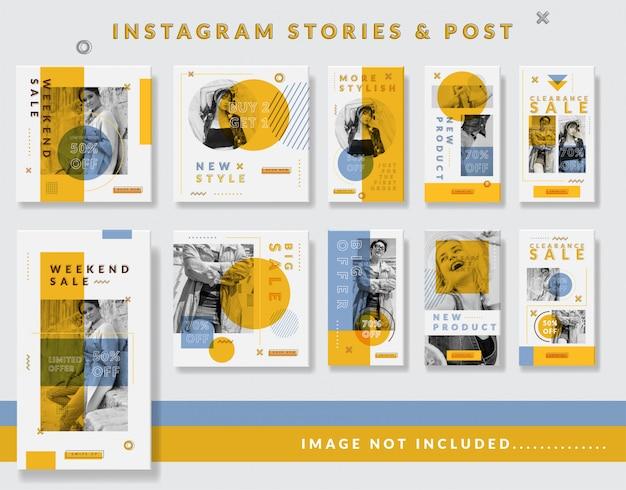 Minimalistische instagram-geschichten und post template set Premium Vektoren