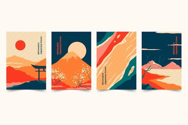 Minimalistische japanische cover-sammlung Kostenlosen Vektoren