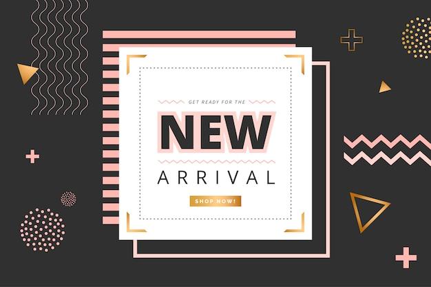 Minimalistische new arrival banner mit geometrischen formen Kostenlosen Vektoren