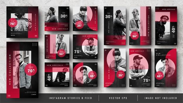 Minimalistische rote instagram-geschichten und social media-feed-post-bundle Premium Vektoren