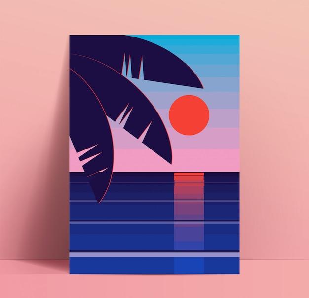 Minimalistische sommerplakatdesignschablone mit sonnenuntergang der roten sonne über dem meer oder ozean mit palmenblättern in der ecke. plakatmodell. illustration Premium Vektoren