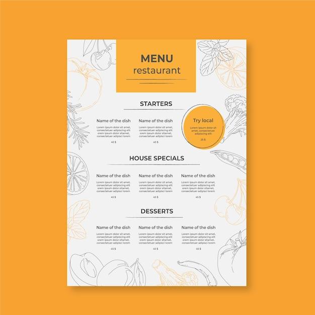 Minimalistische speisekarte mit zeichnungen Kostenlosen Vektoren