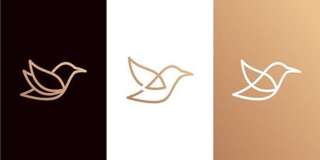 Minimalistische vogellogosammlung mit strichzeichnungen Premium Vektoren