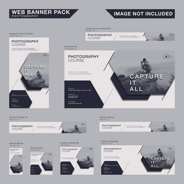 Minimalistische web-banner-pack Premium Vektoren