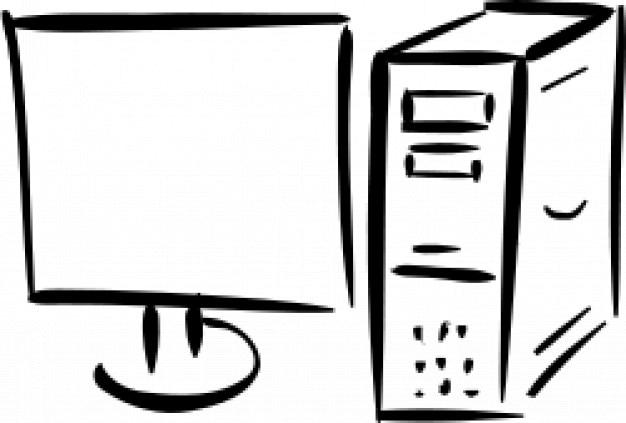 minimalistischen Monitor und Computer Kostenlose Vektoren