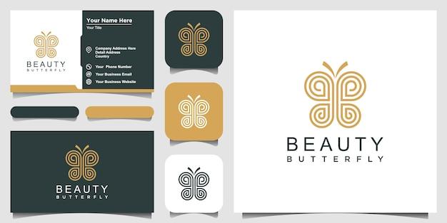 Minimalistischer schmetterlingslinienkunststil. schönheit, luxuriöser spa-stil. logo-design und visitenkarte. Premium Vektoren