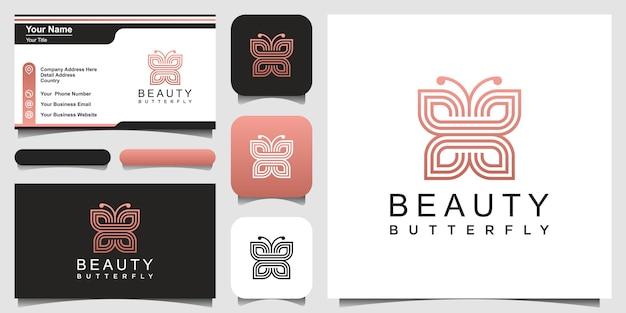 Minimalistischer schmetterlingslinienkunststil. schönheit, luxuriöser spa-stil. logo- und visitenkarten-design. Premium Vektoren
