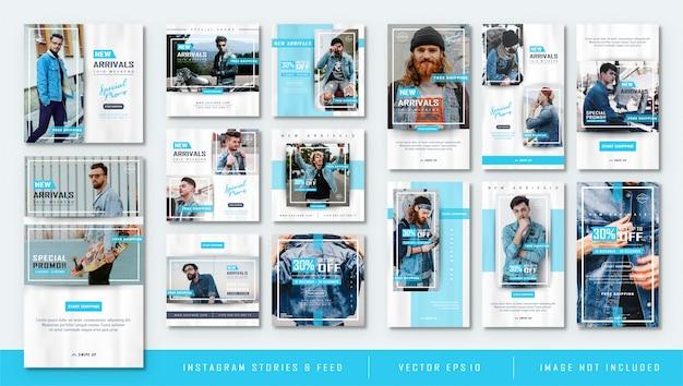 Minimalistisches blau instagram stories und feed post fashion sale template Premium Vektoren