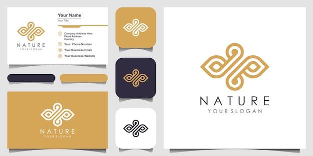 Minimalistisches elegantes blatt- und öllogo mit strichgrafikstil. logo für schönheit, kosmetik, yoga und spa. logo- und visitenkarten-design. Premium Vektoren