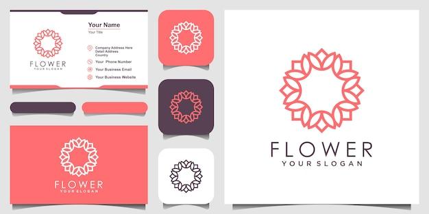 Minimalistisches elegantes blumenrosen-logo-design für schönheit, kosmetik, yoga und spa. logo- und visitenkarten-design Premium Vektoren