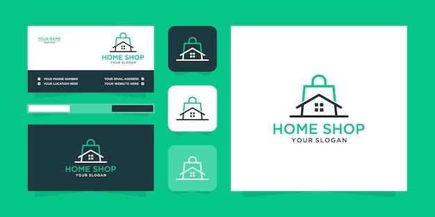 Minimalistisches home-shop-logo und visitenkarte Premium Vektoren