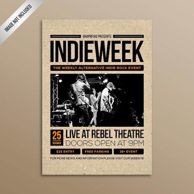 Minimalistisches indie-rockmusik-konzertplakat Premium Vektoren