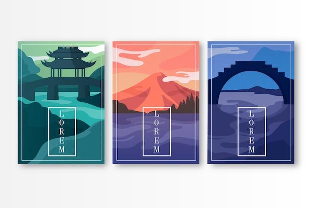 Minimalistisches japanisches cover-design Kostenlosen Vektoren
