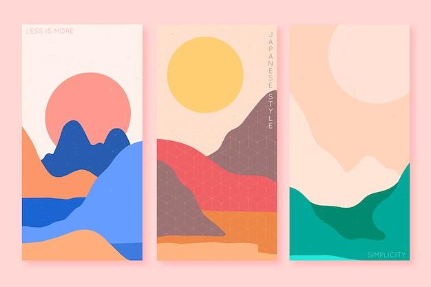 Minimalistisches japanisches design der titelsammlung Kostenlosen Vektoren