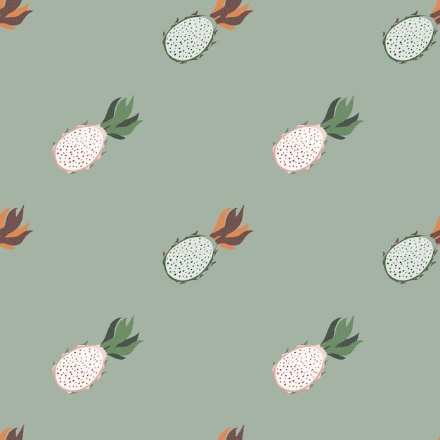 Minimalistisches nahtloses muster in blassen tönen mit pitaya-formen. Premium Vektoren