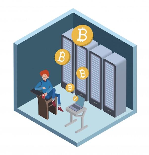 Mining bitcoin-konzept. junger mann, der am computer im serverraum sitzt. cryptocurrency-mining-farm. abbildung in isometrischer projektion. Premium Vektoren