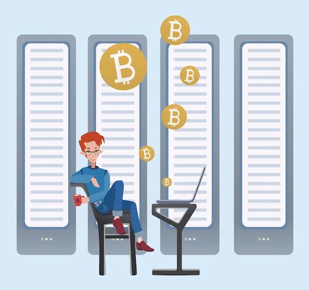 Mining bitcoin-konzept. junger mann, der am computer im serverraum sitzt. cryptocurrency-mining-farm. illustration. Premium Vektoren