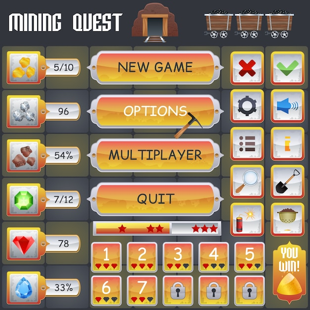 Mining game interface Kostenlosen Vektoren