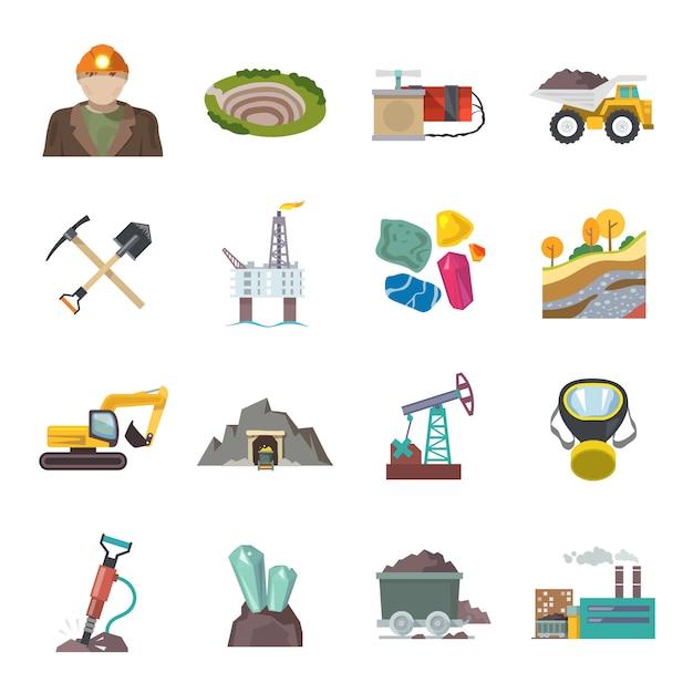 Mining icons flat Premium Vektoren
