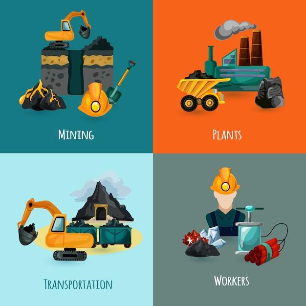 Mining icons set Kostenlosen Vektoren