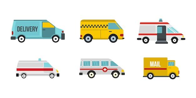 Minivan-icon-set. flacher satz der minivanvektor-ikonensammlung lokalisiert Premium Vektoren