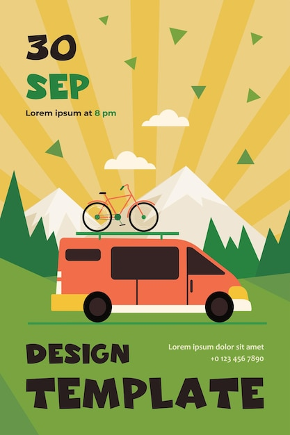 Minivan mit fahrrad oben, das im berg sich bewegt. fahrzeug, transport, radtour flach flyer vorlage Kostenlosen Vektoren