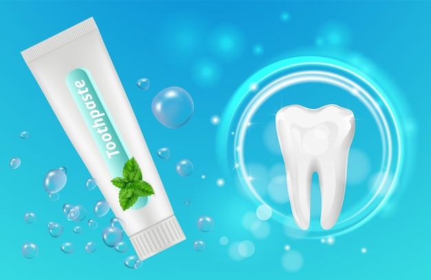 Minze zahnpasta hintergrund. zahnplakat design. realistische zahnpastatube und zähne. illustration zahnpasta minze und zahn Premium Vektoren