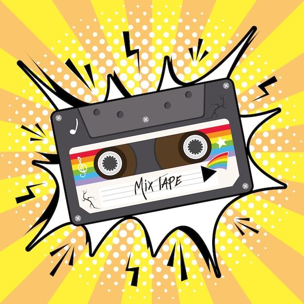 Mischen sie band retro-kassette auf explosion blase design, musik vintage und audio-thema vektor-illustration Premium Vektoren