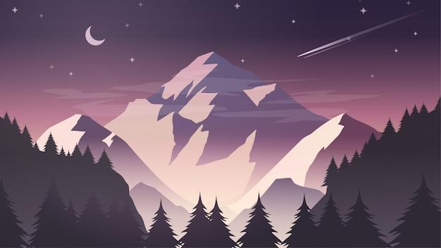 Misty snow mountain cliff-kiefer forest nature landscape mit mond und sternen an der dämmerung, dämmerung, nacht Premium Vektoren